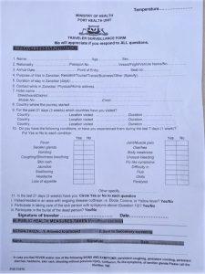 анкета здоровья для поездки на Занзибар