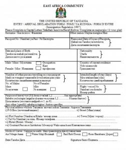 миграционная анкета для поездки на Занзибар